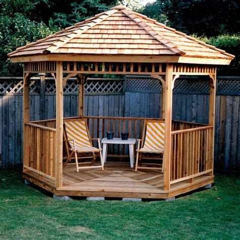 backyard gazebo designs hexagon cedar gazebo kit 8ft w86