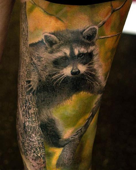 raccoon tattoo designs fluffy raccoon in a tree best design ideas