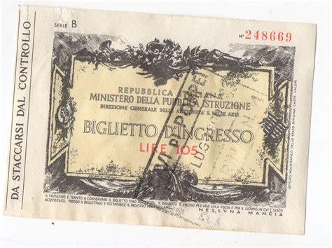pompei biglietto ingresso italian admission ticket biglietto d ingresso lire 105