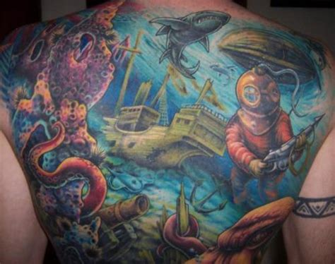 underwater scene tattoo designs water aquatic on back