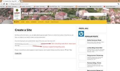 build blog create blog untuk member baru blog umy community