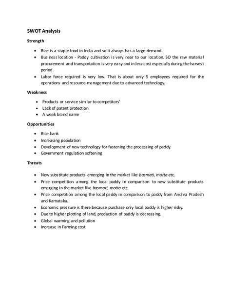 rice business plan format business plan rice mill