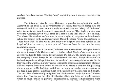 Analysis Of An Advertisement Essay by Analysis Of The Guinness Tv Advertisement Tipping Point A Level Media Studies Marked By