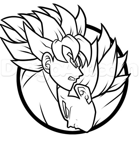 how to draw a goku and vegeta yin yang step by step