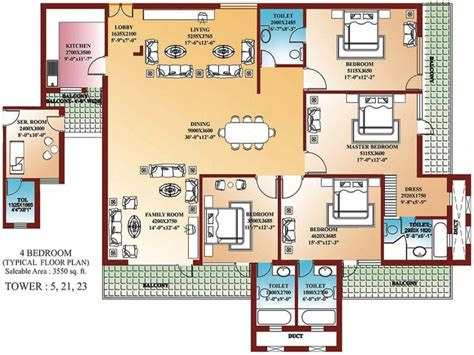 Small 4 Bedroom Floor Plans by Unique 4 Bedroom Home Blueprints Small 4 Bedroom House