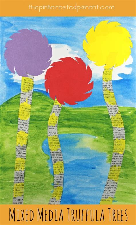 mixed media truffula tree art inspired  dr seuss  lorax kids arts  craftsonspired