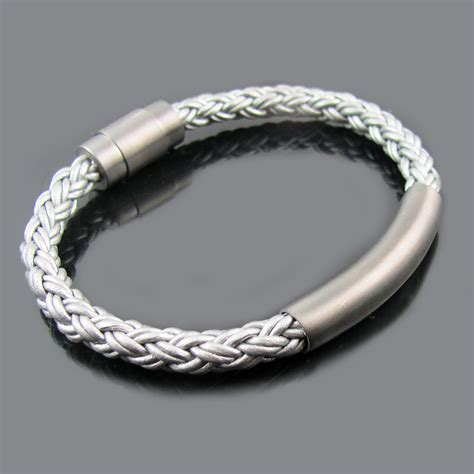 leather stainless steel clasp id bracelet silver blackjack jewelry touch of modern