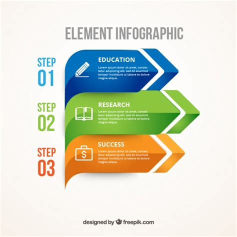 3 Sections In 3 Years by Element Infographic Vector Free
