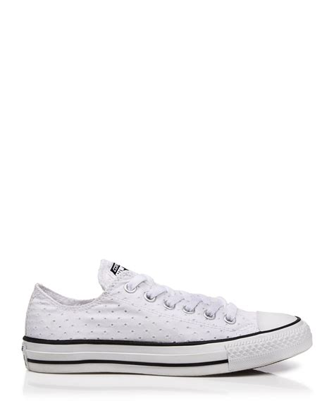 white eyelet sneakers lyst converse lace up sneakers eyelet low top in white