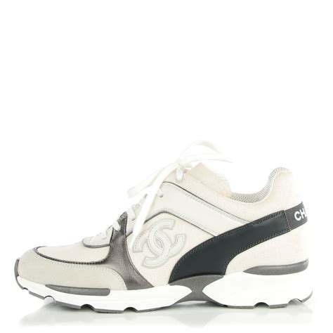 white chanel sneakers chanel suede calfskin canvas goatskin cc sneakers 38 white