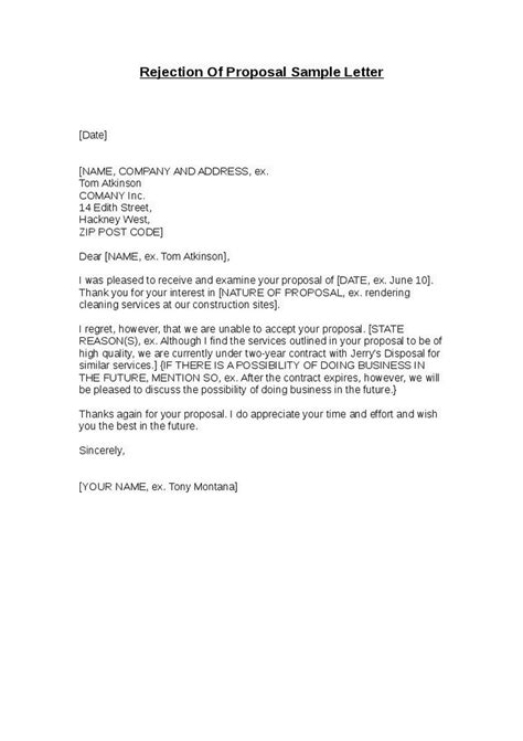 Rejection Letter For Rfp Free Sle Rfp Rejection Letters Sles