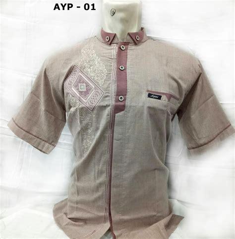 Bordir Merk Baju baju koko lengan pendek bordir model terbaru 2018 warna kalem busanamuslimpria