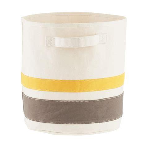 yellow patterned storage bins yellow grey small striped canvas storage bin with