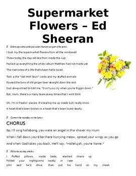 ed sheeran supermarket flowers lyrics supermarket flowers ed sheeran listening activity tpt
