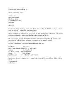 contoh surat lamaran kerja sebagai quality control 5 surat lamaran pekerjaan dalam bahasa inggris contoh
