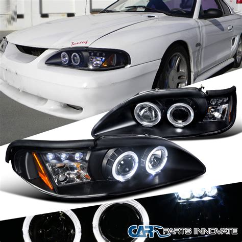 1998 mustang headlights 1994 1998 ford mustang gt cobra black led halo projector