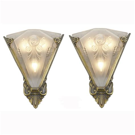 Antique Wall Sconces Pair Of Large Wall Sconces Lighting With Antique Shades Ant 400 For Sale Antiques
