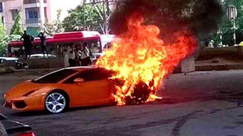 Lamborghini Burning A Lamborghini Catches In Delhi We Can Literally See