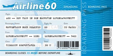 Vorlage Word Dankeskarte Einladungskarten Einladung 60 Geburtstag Flugticket Blau Ein Designerst 252 Ck Cardlaan