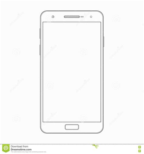 Vector Smartphone Outline Template Phone Icon Stock Vector Illustration Of Cellphone Blank Phone Template