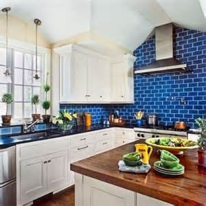Blue Kitchen Tile Backsplash bold blue subway tiles to make the cabinetry look fresher