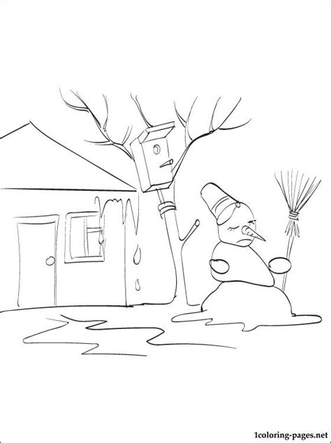 spring coloring page sad snowman coloring pages