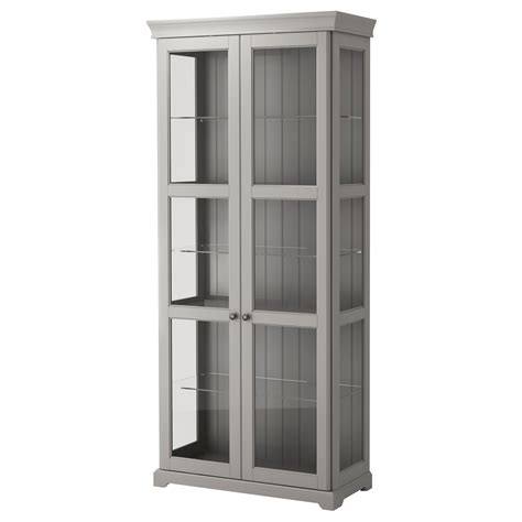 Cabinet With Glass Door Liatorp Glass Door Cabinet Grey 96x214 Cm Ikea
