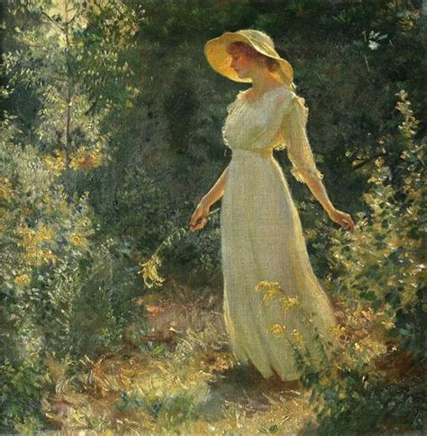 in a white dress in a garden charles curran paintings i