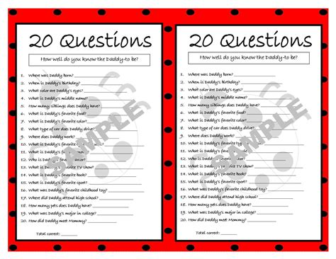 Who Knows Best Baby Shower Questions by 20 Questions Ladybug Printable Ladybug Baby