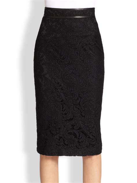 burberry lace fishtail pencil skirt in black lyst