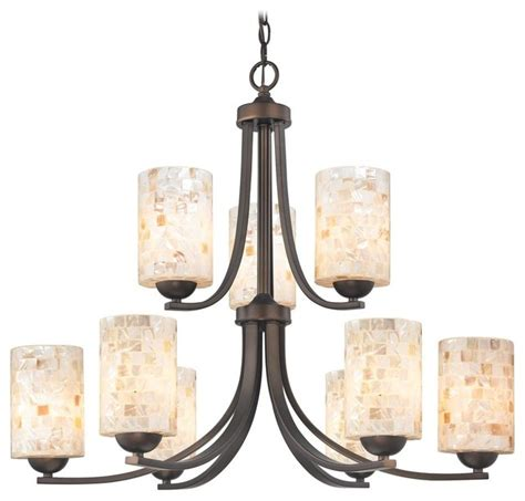 Chandelier With Mosaic Glass In Neuvelle Bronze Finish Farmhouse Chandelier Lighting