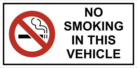no smoking sign for vehicles 50 x no smoking in this vehicle stickers signs for vans