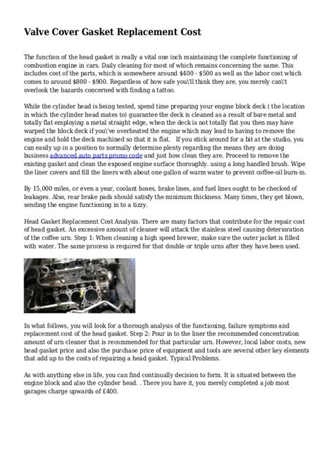 Valve Repair Cover Letter by Valve Cover Gasket Replacement Cost