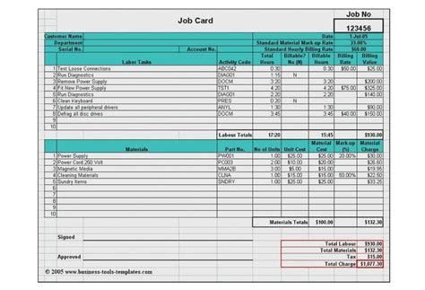 Cost Card Template by Labor Materials Cost Estimator Job Card Template