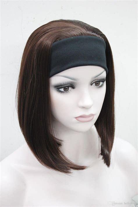headband bob wigs for women 2017 cute bob 3 4 wig with headband dark auburn straight