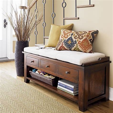 entryway bench with baskets and cushions maybe something like this with a higher table in back in