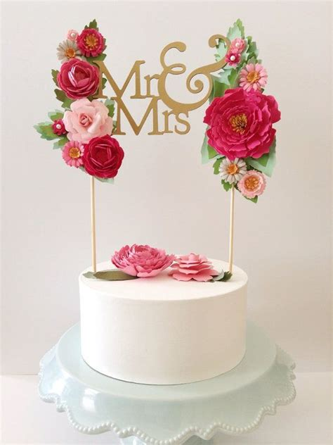 Handmade Cake Topper - custom wedding paper cake topper personalized with your