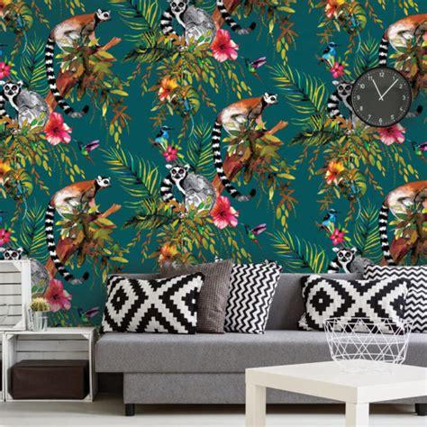 kooky lemur wallpaper  teal roll  sample love frankie