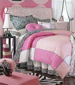 Retro pink zebra print bedding and bedroom decor