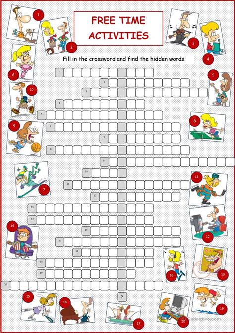 free time activities crossword worksheet free esl
