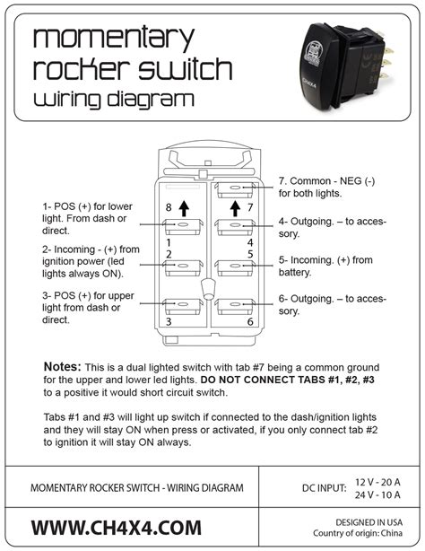 narva winch rocker switch wiring diagram circuit and