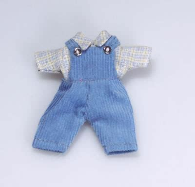 toddlers dolls house toddlers blue dungaree outfit dolls house miniature from 1 12th scale doll houses