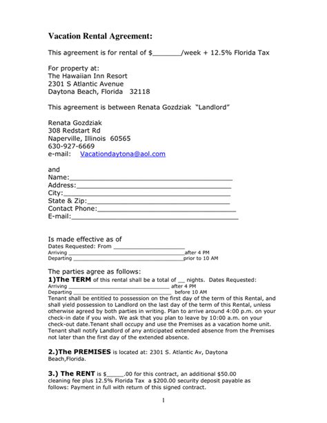 weekly rental agreement template vacation rental agreement in word and pdf formats