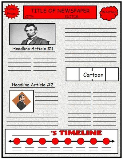 Newspaper Book Report Historical Fiction by Biography Book Report Newspaper Templates Printable Worksheets And Grading Rubric Project
