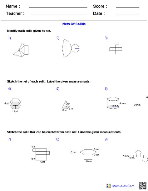 Surface Area From Nets Worksheet by Geometry Worksheets Surface Area Volume Worksheets