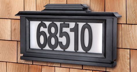 solar powered house numbers address illuminated lighted black series solar powered lighted address plaque