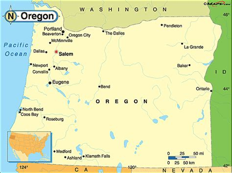 map of oregon major cities oregon political map by maps from maps world s