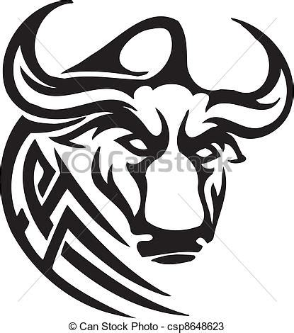 monochrome drawing bull tribal patterns on stock vector bull in tribal style vector image black and white image