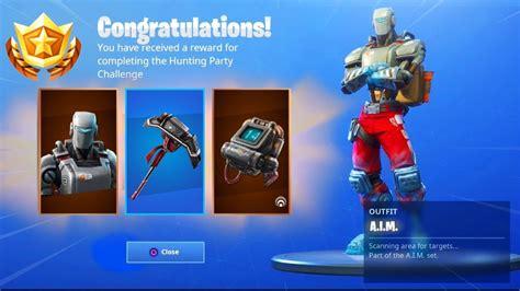 hunting party skin rewards  fortnite aim