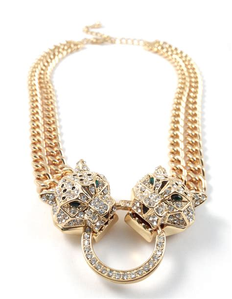 leopard duo paved statement chunky gold necklace